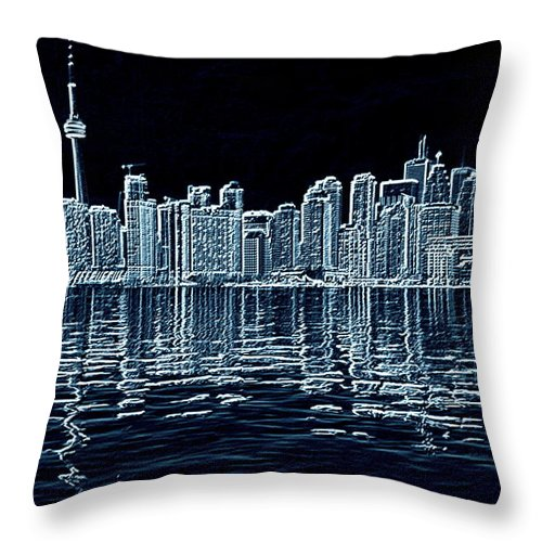 Toronto Throw Pillow featuring the photograph Toronto Skyline In Blue by Valentino Visentini