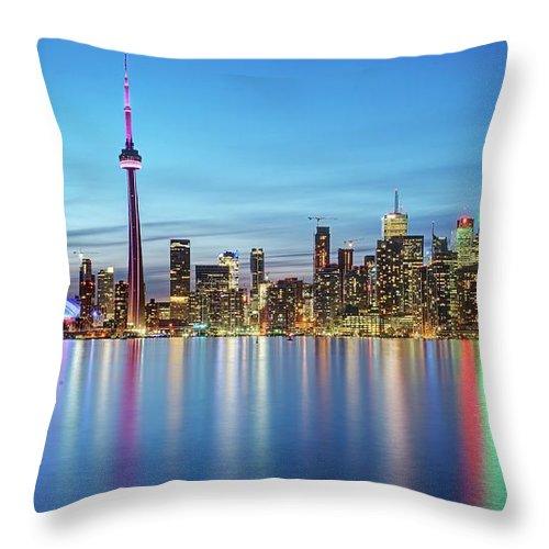 Tranquility Throw Pillow featuring the photograph Toronto Skyline by Thomas Kurmeier