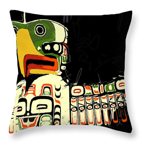 Vancouver Throw Pillow featuring the painting Totem Pole 01 by Catf