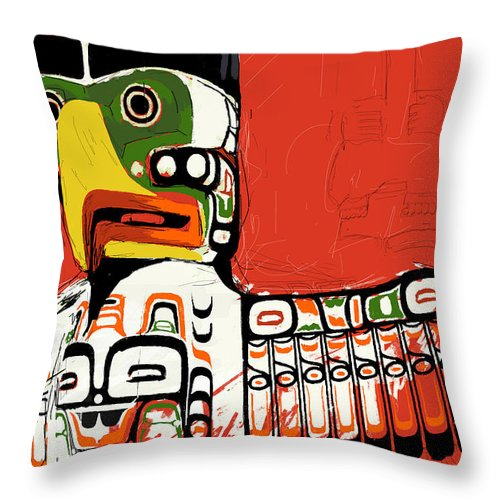 Vancouver Throw Pillow featuring the painting Totem Pole 02 by Catf