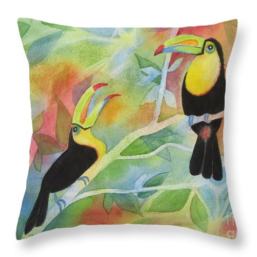 Toucan Throw Pillow featuring the painting Toucan Play At This Game by Deborah Ronglien