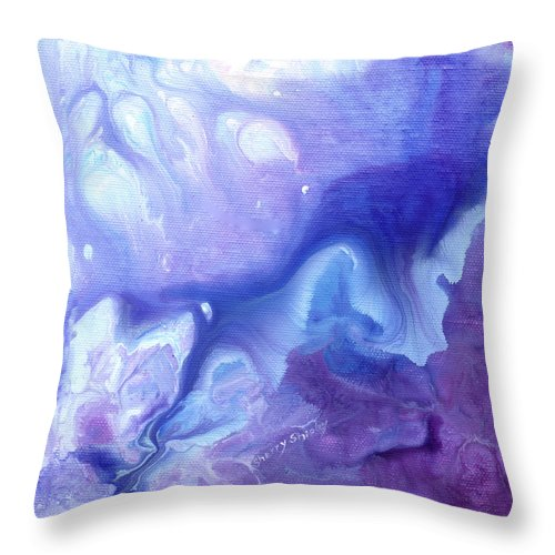Flower Throw Pillow featuring the painting Touch Of Iris by Sherry Shipley