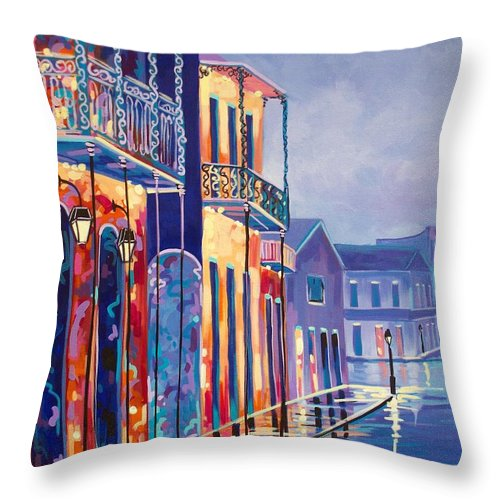 New Orleans Throw Pillow featuring the painting Toulouse At Bourbon New Orleans by Elaine Adel Cummins