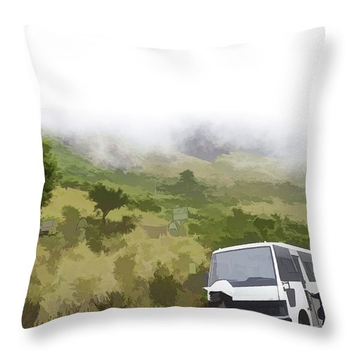 Climbing Path Throw Pillow featuring the digital art Tourists And Bus Inside The Eravikulam National Park by Ashish Agarwal