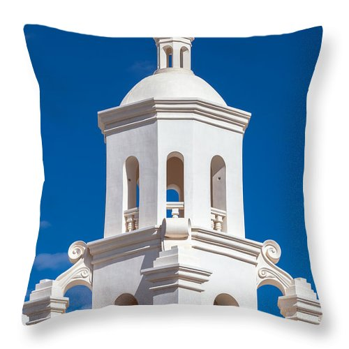 1797 Throw Pillow featuring the photograph Tower At Mission San Xavier Del Bac by Ed Gleichman