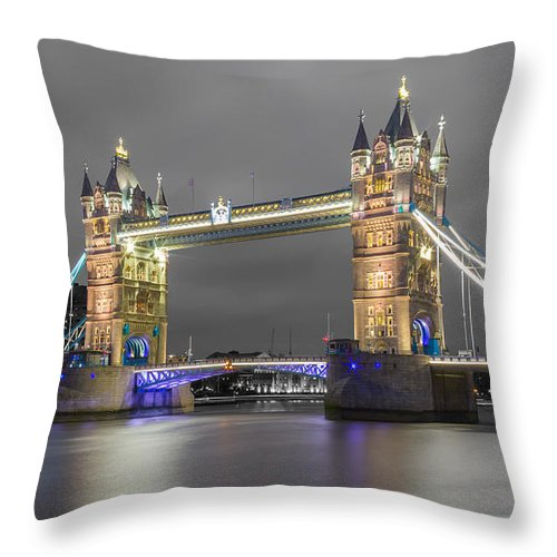 Color Image Throw Pillow featuring the photograph Tower Bridge Color Mix by Travel and Destinations - By Mike Clegg