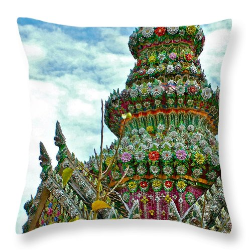 Tower Closeup Of Buddhist Temple At Grand Palace Of Thailand In Bangkok Throw Pillow featuring the photograph Tower Closeup Of Buddhist Temple At Grand Palace Of Thailand by Ruth Hager