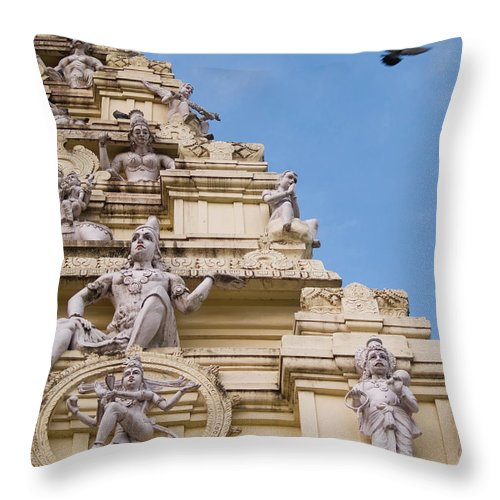 Architecture Throw Pillow featuring the photograph Tower Of A Hindu Temple by David H. Wells