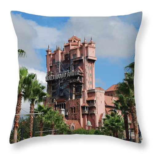 Disney Throw Pillow featuring the photograph Tower Of Terror by Eric Liller