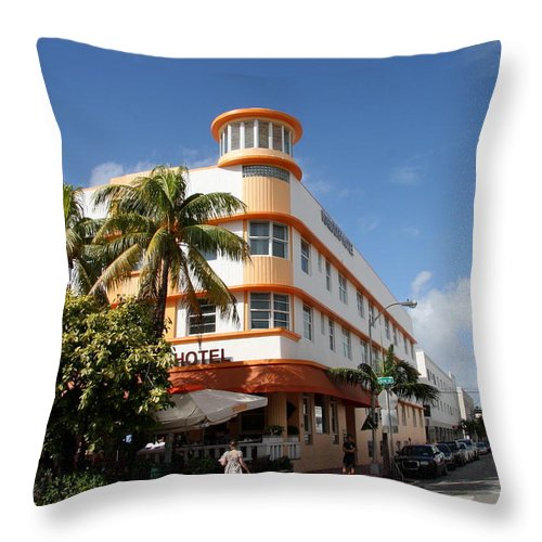Hotel Throw Pillow featuring the photograph Towers Hotel - Miami by Christiane Schulze Art And Photography