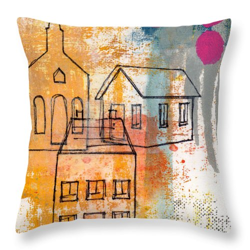 Abstract Throw Pillow featuring the painting Town Square by Linda Woods