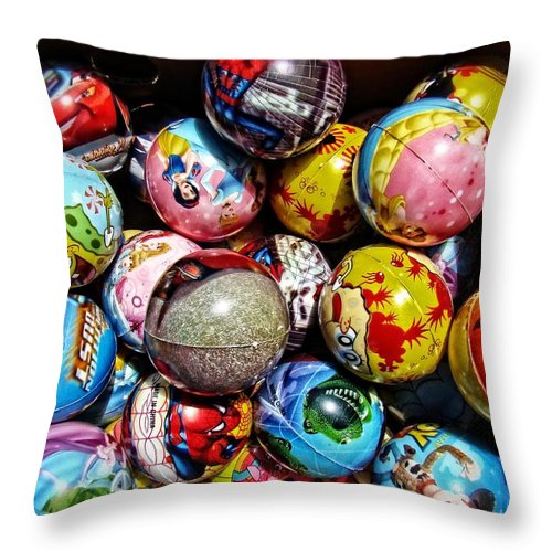 Toys Throw Pillow featuring the photograph Toy Balls by Alice Gipson