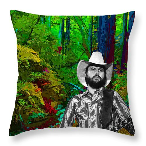 Toy Caldwell Throw Pillow featuring the photograph Toy Caldwell In The Woods by Ben Upham