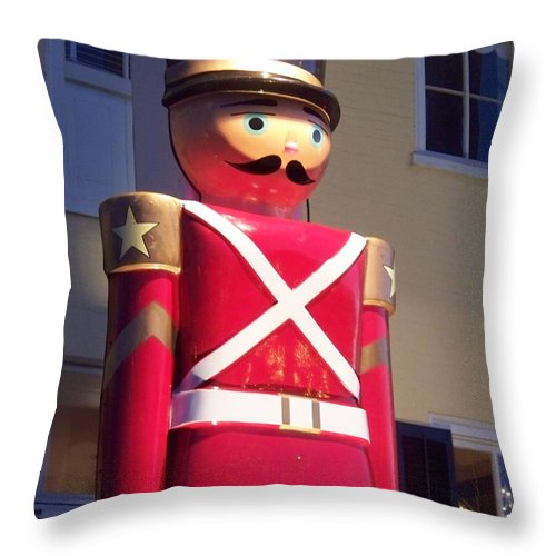 Toy Soldier Throw Pillow featuring the photograph Toy Christmas Soldier by Eric Schiabor