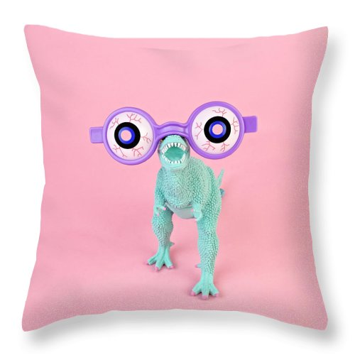 Purple Throw Pillow featuring the photograph Toy Dinosaur With Spooky Glasses by Juj Winn