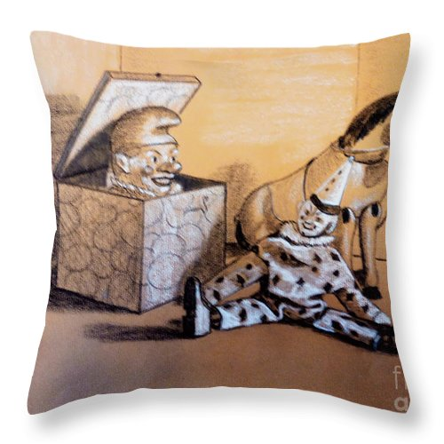 Schoenhut Throw Pillow featuring the pastel Toy Reunion by Art By - Ti  Tolpo Bader