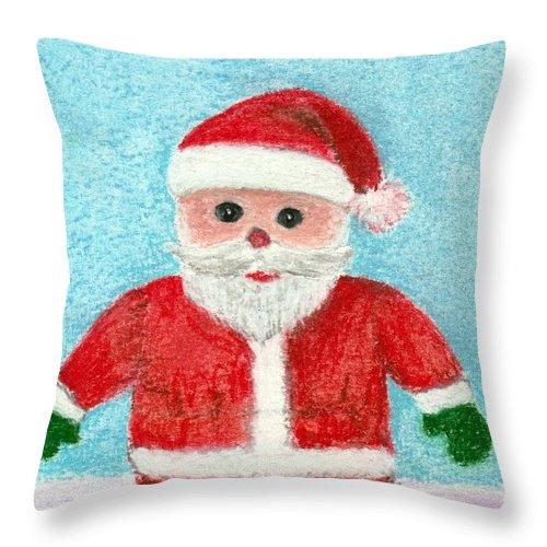 New Year Throw Pillow featuring the painting Toy Santa by Anastasiya Malakhova