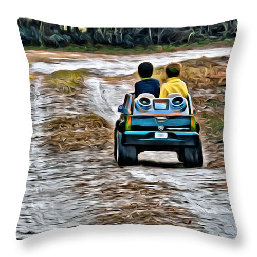 Truck Toy Boys Road Kids Throw Pillow featuring the photograph Toy Truck Riders by Alice Gipson