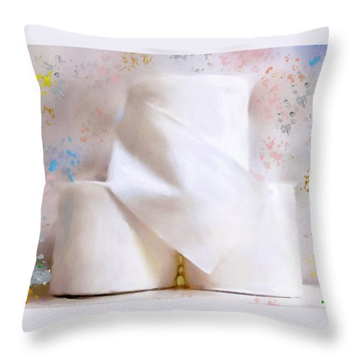 Toilet Paper Throw Pillow featuring the mixed media TP by Deborah Boyd