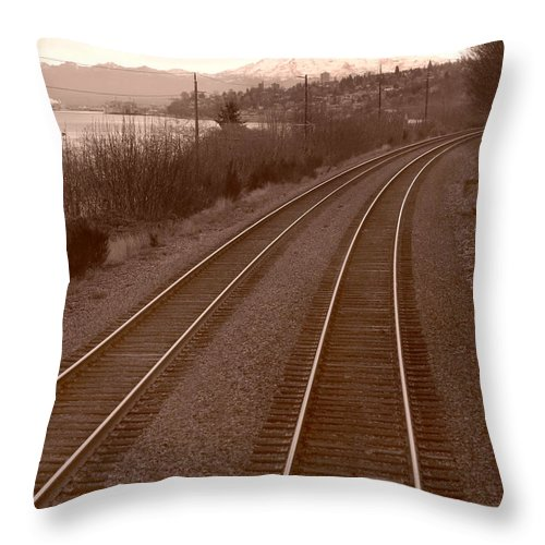 Tahoma Throw Pillow featuring the photograph Tracks From Tahoma by Michael Moore