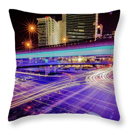 Outdoors Throw Pillow featuring the photograph Tracks Of Light 02 by Welcome To Buy The Image If You Like It!