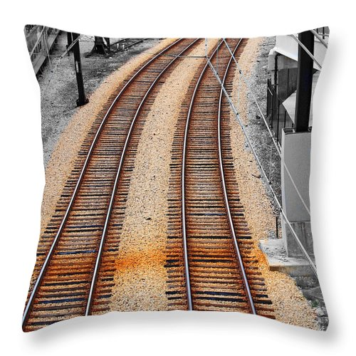 Throw Pillow featuring the photograph Tracks by Rick Selin