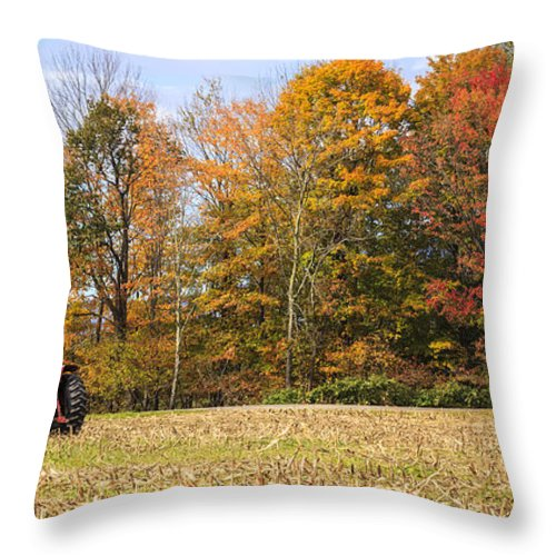 Autumn Throw Pillow featuring the photograph Tractor In Autumn New England Field by Ken Brown