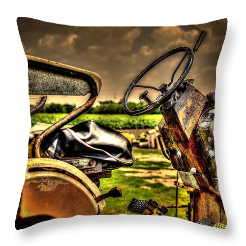 Tractor Throw Pillow featuring the photograph Tractor Seat by David Morefield