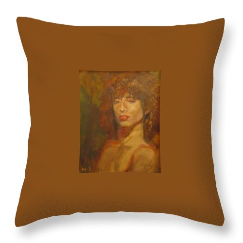 Portrait Throw Pillow featuring the painting Tracy by Irena Jablonski