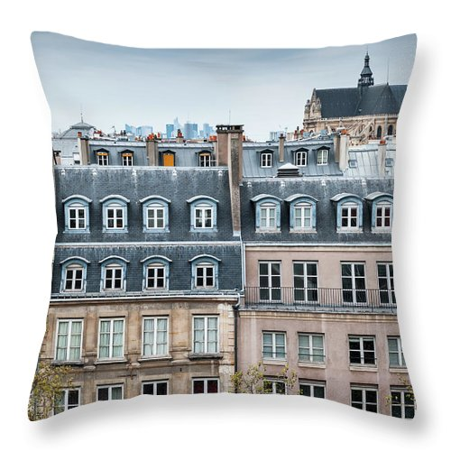Built Structure Throw Pillow featuring the photograph Traditional Buildings In Paris by Mmac72