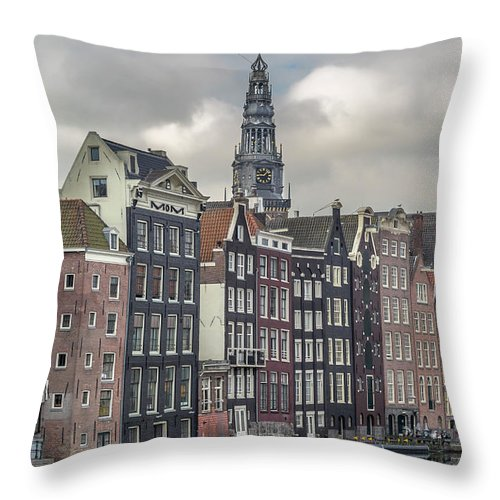 In A Row Throw Pillow featuring the photograph Traditional Dutch Houses Over A Canal by Buena Vista Images