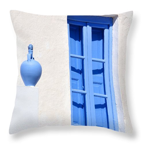 Serifos; Chora; Hora; City; Town; Greece; Greek; Hellas; Cyclades; Kyklades; Aegean; Islands; Holidays; Island; Vacation; Travel; Trip; Voyage; Journey; Tourism; Touristic; Summer; White; House; Blue; Window; Pot; Waterpot Throw Pillow featuring the photograph Traditional House In Serifos Town by George Atsametakis
