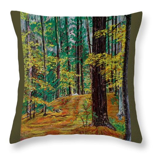 New Hampshire Throw Pillow featuring the pastel Trail At Wason Pond by Sean Connolly
