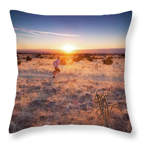 Scenics Throw Pillow featuring the photograph Trail Running by Amygdala imagery