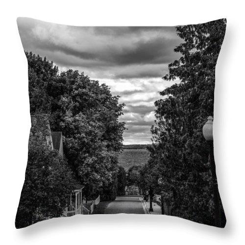 Mackinac Island Throw Pillow featuring the photograph Trail To Town by Sheri Bartoszek