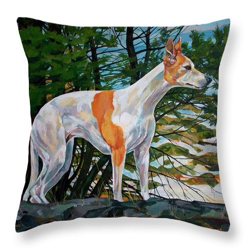 Whippet Throw Pillow featuring the painting Trailblazer by Derrick Higgins