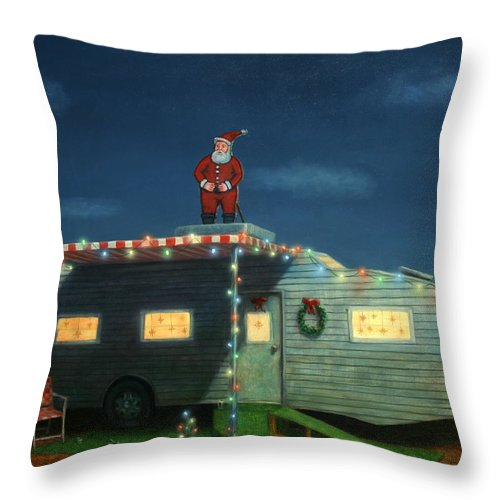 Christmas Throw Pillow featuring the painting Trailer House Christmas by James W Johnson