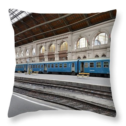 Train Throw Pillow featuring the photograph Train At Station Platform Budapest Hungary by Imran Ahmed