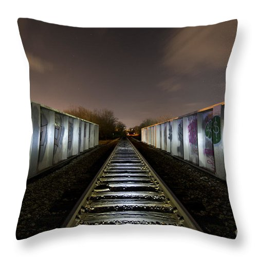 Train Throw Pillow featuring the photograph Train Bridge by Chris Look