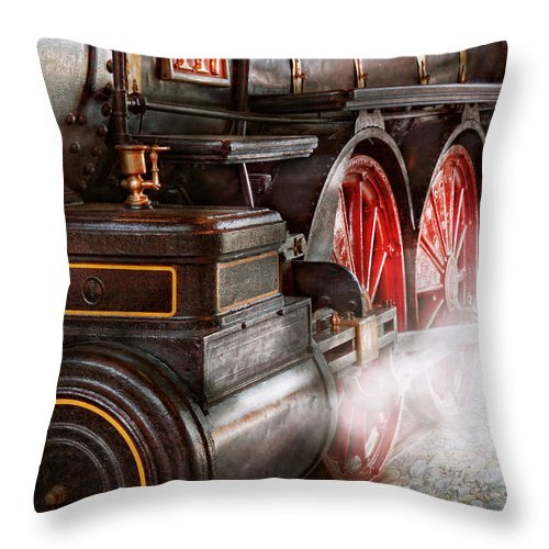 Savad Throw Pillow featuring the photograph Train - Let Off Some Steam by Mike Savad