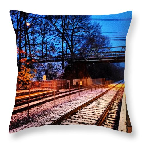 Train Station Throw Pillow featuring the photograph Train Station First Snow by Mark Valentine