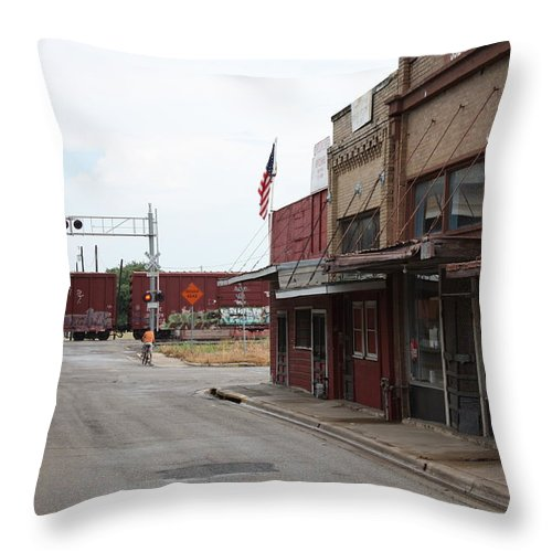 Taylor Throw Pillow featuring the photograph Train Through Taylor by Valerie Loop