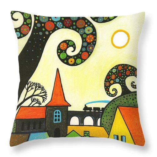 Abstract Throw Pillow featuring the painting Train Through Town by Margaryta Yermolayeva