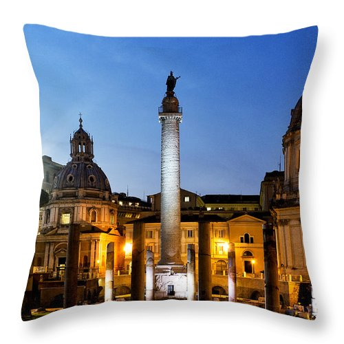 Rome Throw Pillow featuring the photograph Trajan's Column by Fabrizio Troiani
