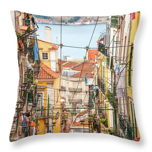 People Throw Pillow featuring the photograph Tram, Barrio Alto, Lisbon, Portugal by Peter Adams