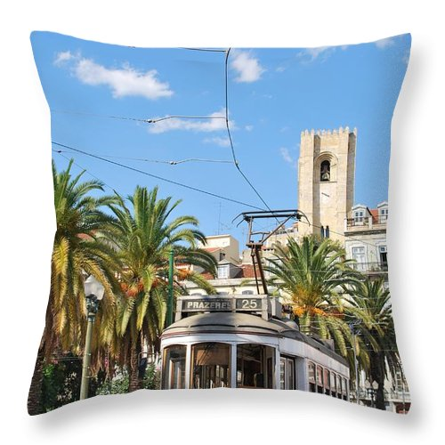 City Throw Pillow featuring the photograph Tram In Lisbon by Luis Alvarenga