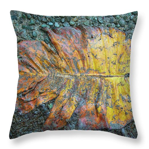 Macro Throw Pillow featuring the photograph Trampled Leaf by Britt Runyon