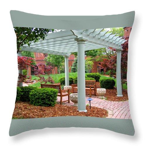 Courtyard Throw Pillow featuring the photograph Tranquil Courtyard by Ann Horn