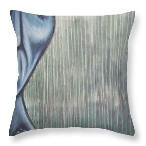 Tmad Throw Pillow featuring the painting Tranquil Rain by Michael TMAD Finney