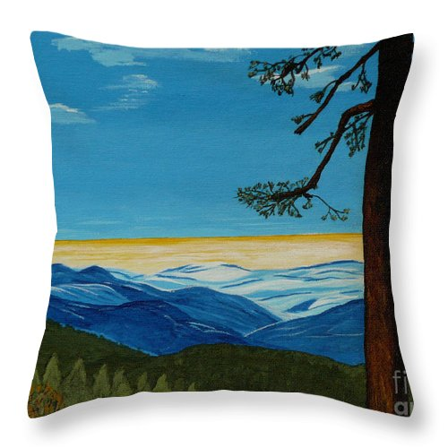 Mountain Throw Pillow featuring the painting Tranquil Solitude by Anthony Dunphy